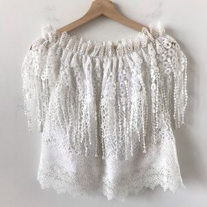 Elie Tahari white lace and pearl off shoulder top